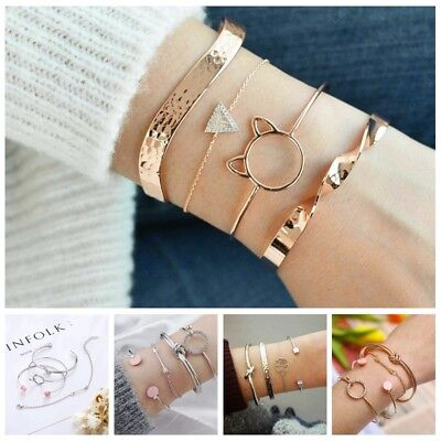 Fashion Women Girls Bracelet Set BOHO Adjustable Bangle Jewelry Prom Gift Lot