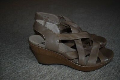 Wonders wedge heeled shoes/ sandals...taupe leather...size 38...excellent condit