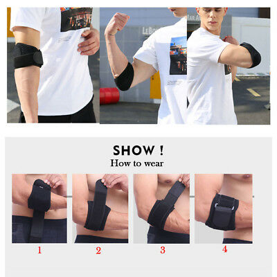 Adjustable Elbow Support Brace Pad Tennis Golf Sports Forearm Band Strap