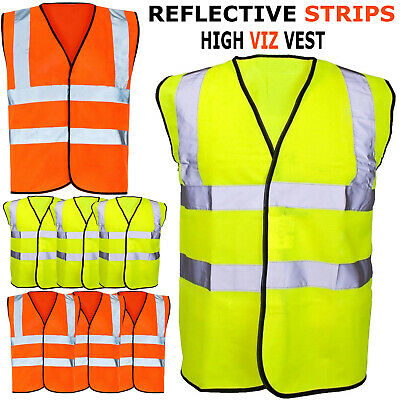 NEW High Visibility Reflective Waistcoat Construction Safety Vest Jacket UK Lot