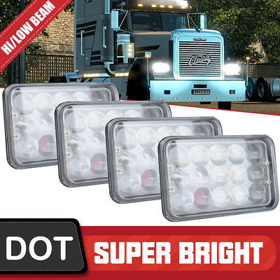 "2Pair 60W 4x6"" LED Headlights for Kenworth T400 T600 T800 W900L Classic 120/132"