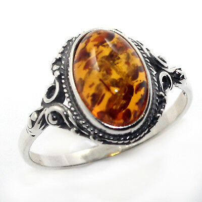 Antique Vintage Style Genuine Natural Amber Ring Solid 925 Sterling Silver