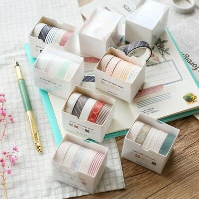 5 Pcs/lot Basic Grid Solid Color Masking Washi Tape Set Stationery Office Supply