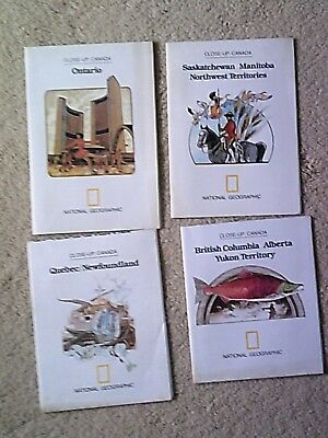 National Geographic Society Close Up Canada 4 Maps Guides from 1970s