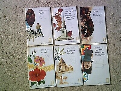 National Geographic Society Close Up U.S.A. 6 Maps Guides from 1970s