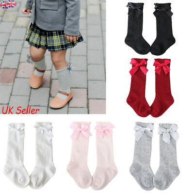 Baby Girls Toddler Kids Knee High Socks Spanish Style Bow Cotton School Stocking