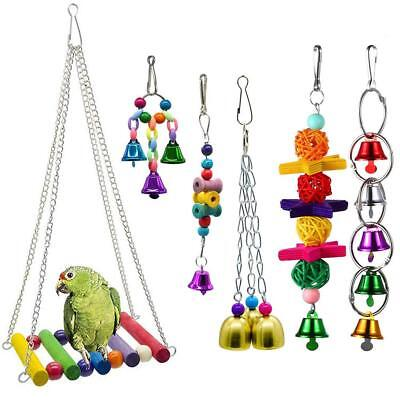 6pcs Pet Bird Parrot Parakeet Cockatiel Cage Hammock Swing Toys Hanging Toy UK
