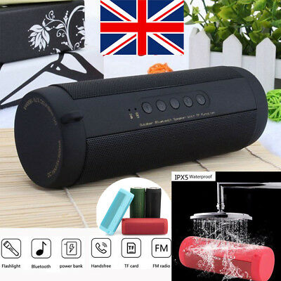 Portable Wireless Bluetooth Speaker Waterproof Sports FM Stereo LED Flashlight