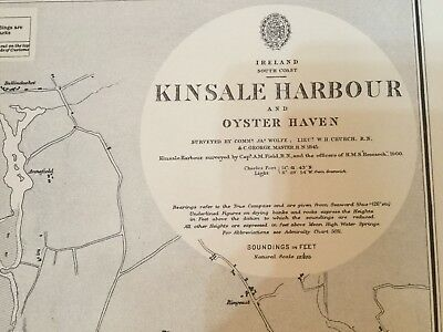 Genuine 60s Nautical Chart Kinsale Harbour and Oyster Haven Ireland