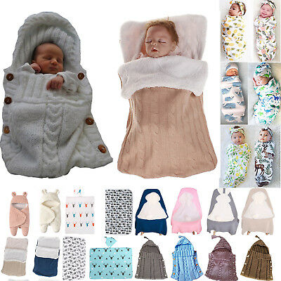 Newborn Baby Swaddle Blanket Wrap Sleeping Bag Knitted Cotton Swaddling Sack Neu