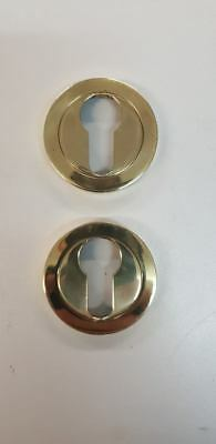 2 x Euro Profile Escutcheons Key hole Covers Polished Brass Screw on Rose