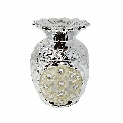 SILVER CREAM DIAMANTE PINEAPPLE SHAPED SCENTED CANDLE 12CM x 9CM