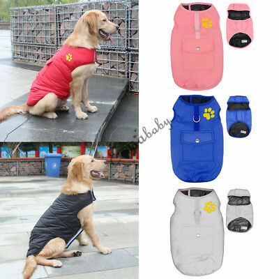 US Pet Dog Waterproof Clothes For Autumn Winter Warm Padded Coat Vest Jacket