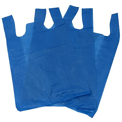 "100 Blue Plastic Polythene Vest Style Carrier Bags - Size 11 x 17 x 21"" Shopping"