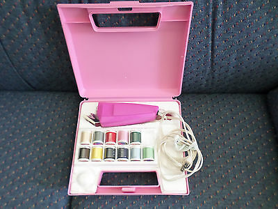 Rare Vintage Lady Vanity Pink Lighted Electric Scissors Sewing Kit Works!