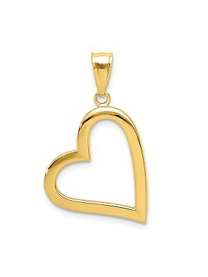 14k Yellow Gold Polished Open Heart Charm Pendant - 17x29mm 0.86 Grams