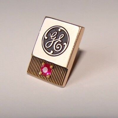 10K Yellow Gold & Ruby GE Service Pin 1.96g