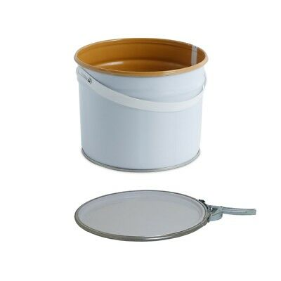 3 L Ltr Litre Metal Tinplate White Bucket Pail Lacquered Interior for Water Base