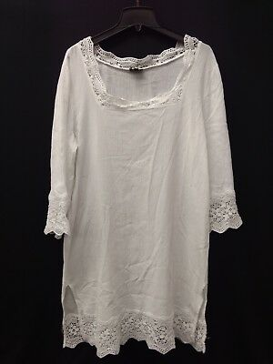 TALBOTS WHITE TUNIC Dress Womens Size Large 3 4 Sleeve With Lace ... 1d50a3b39bf3