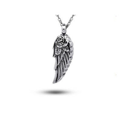 Stainless Steel Rose Wings Perfume Bottle Pendant Ashes Souvenir For Pet Human