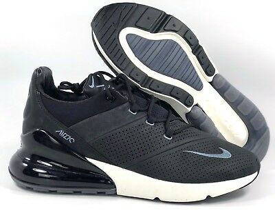 b1cc3ec11d Nike Air Max 270 Premium Leather Black Carbon Grey Sail White AO8283-001  Men's 9