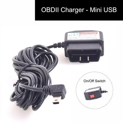 OBDII Charging Cable Mini USB Power Adapter with Switch Button OBD2 Connector