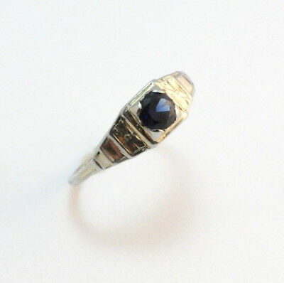 Art Deco Sapphire Engagement Ring 14k White Gold Size 6