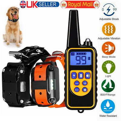 800m Waterproof Pet Dog Training Collar Rechargeable Electric Shock Anti-bark UK