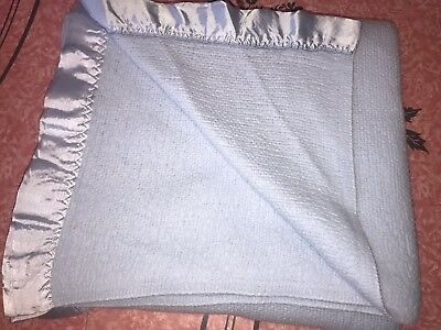 MARY H WAFFLE BLANKET ~ Vtg Mid Century Satin Edge Blue Acrylic 71 x 82 Twin