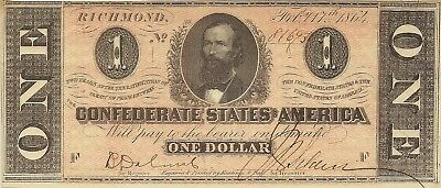1864 $1 Confederate Civil War Currency ~ Clement Clay- Choice Crisp Uncirculated