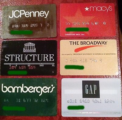 Vintage Expired Store Credit Cards ~ Nice Lot Of 6 Cards For Collectors ~