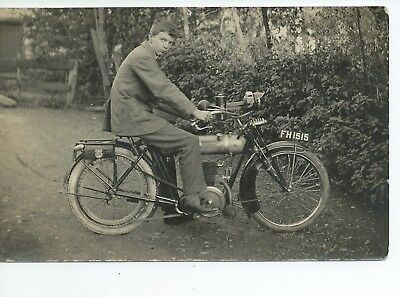 Real photo postcard of an early motorcycle  in very  good condition FH1515