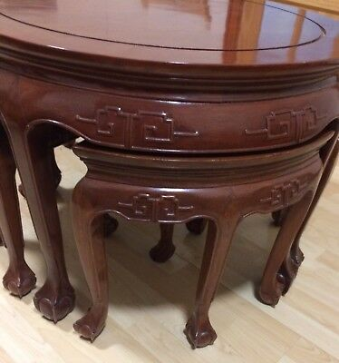 Japanese Antique Lacquered Hard Wood Hand Made Carved Table With 4 Stools