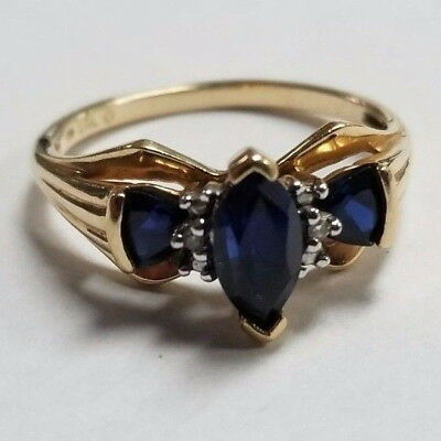 10k Yellow Gold Blue Stone Ring Size 6.5 Jewelry #SS-BSR349J