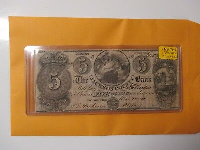1837 $5 The Jackson County Bank Of Michigan (Nice Looking)