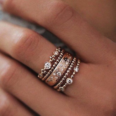 5Pcs/Set Fashion Women Crystal Rose Gold Jewelry Filled Crystal Ring 5Pcs/Set