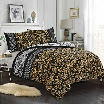 Luxury 100% Egyptian Cotton Gold & Mustard Printed Duvet Cover Sets+Fitted Sheet