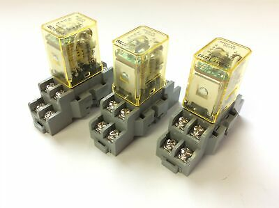 New Lot of 3 Idec RH2B-UL Ice Cube Relays, 10A DC24V Coil w/ SH2B-05 Base Socket