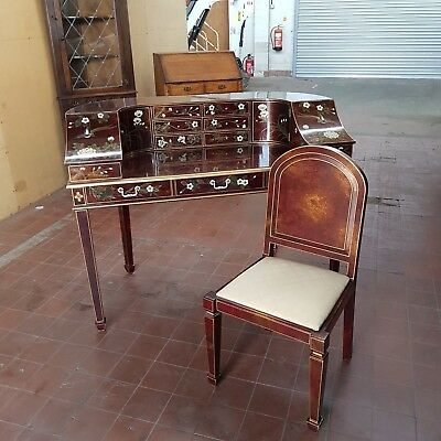 Carlton House Desk & Chair Antique/reproduction/ Inlaid Writing Table/desk