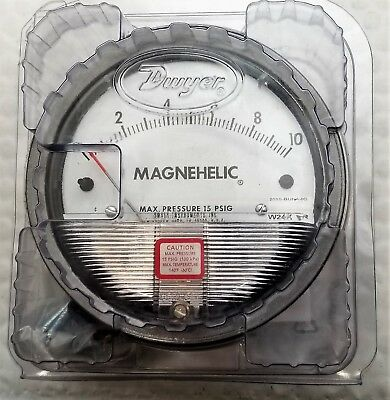 "Dwyer 2010 Magnehelic Differential Pressure Gauge, Type, 0 to 10"" WC [B6BB]"