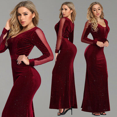 b33cd9cf6c UK Ever-Pretty Burgundy V-Neck Long Sleeve Formal Evening Dress Prom Ball  Gowns