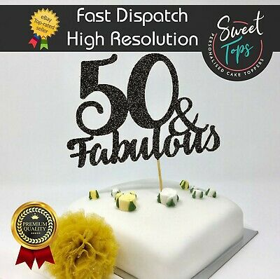 50 And Fabulous Black Glitter Stand-Up Cake Topper