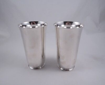 Tiffany Sterling Silver Pair Of Tall Elegant Beakers Never Monogrammed Antique