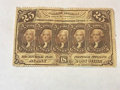 first series perforated 25c fractional currency fr 1229 no monogram variety