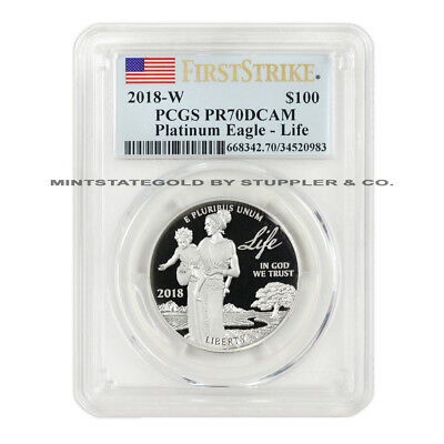 2018-W $100 Platinum Eagle PCGS PR70DCAM FS First Strike 1oz Deep Cameo coin