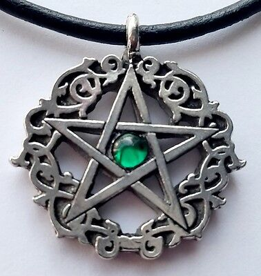 "Emerald Colored Celtic Pentacle Pagan 18"" inch Necklace Crystal Pewter Pendant"