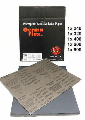 WET AND DRY SANDPAPER GERMA FLEX Assorted grits 240 320 400 600 800 PACK OF 5