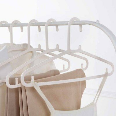 20pcs/Set Plastic Adults Clothes Hangers Closet Organizer Space Saver With Hook