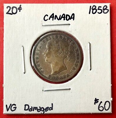 1858 20 Cents Canada Silver Twenty Cent Coin - $60 Damaged