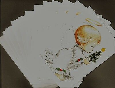"""Set of 12 Ruth Morehead """"Holly Babes"""" Christmas Cards, angel"""
